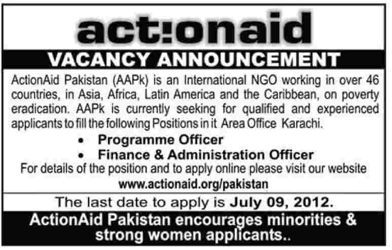 24 06 2012 012 0131 Action Aid Pakistan Finance & Administration Jobs