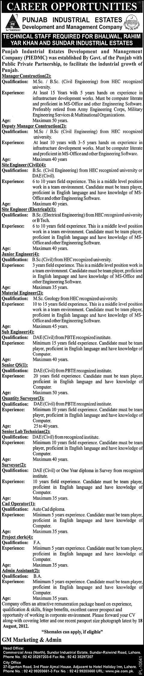 jobs in punjab industrial estates Technical Staff Jobs in Punjab Industrial Estates Development Company